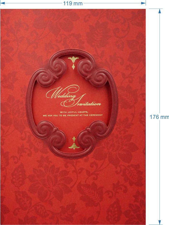 三折式婚礼请柬 请帖结婚函创意中式红色邀请函