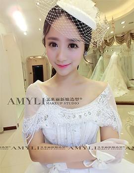 韩式新娘头纱礼帽造型图片