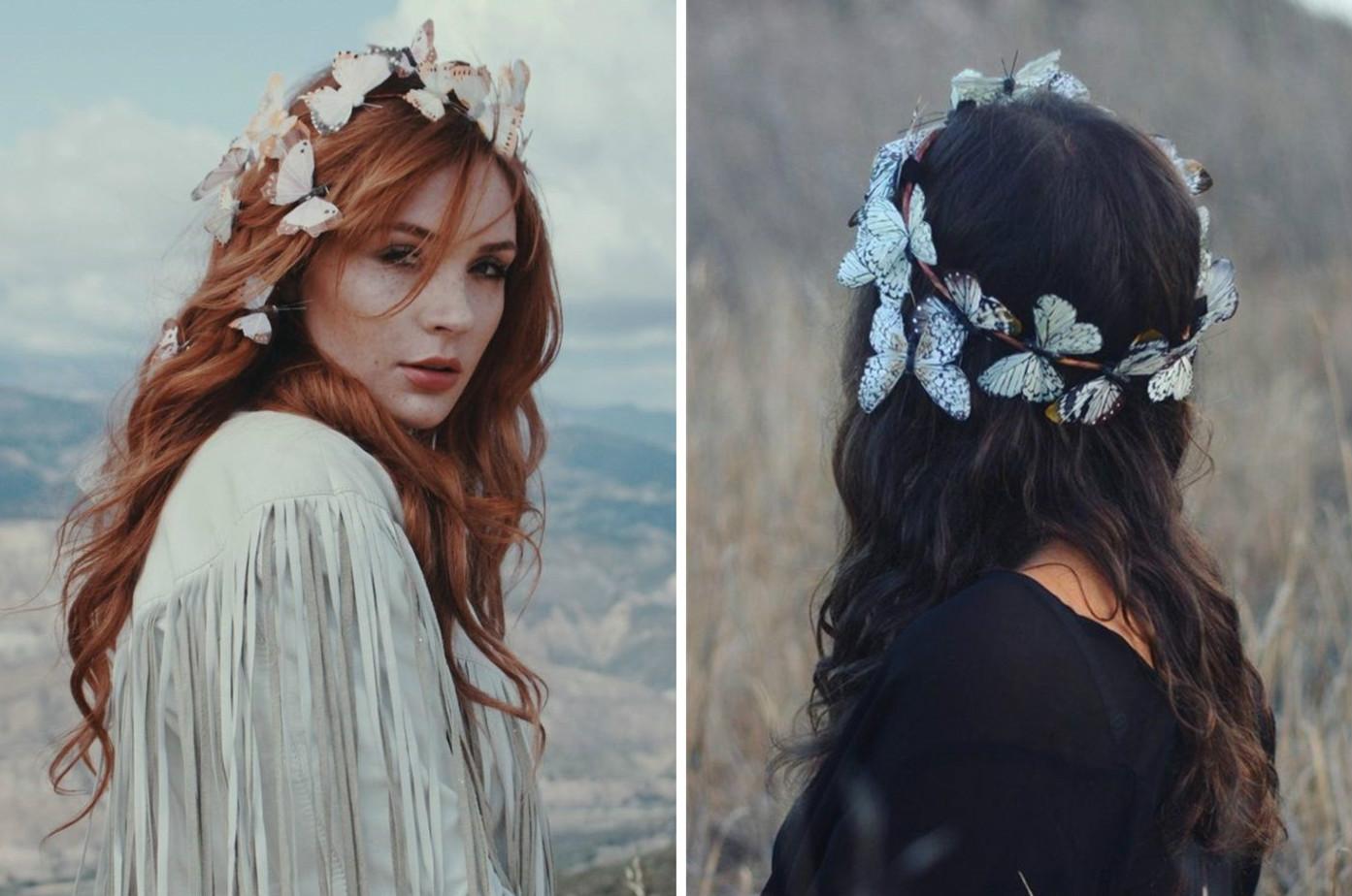 打造仙气的波西米亚风格新娘 让蝴蝶在发间翩翩起舞